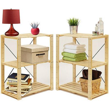 Furinno Pine Solid Wood 3-Tier Adjustable Storage Shelf Set of 2