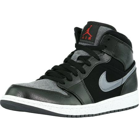 huge discount de17a 710c0 Nike Men's Air Jordan 1 Mid Prem Black / Gym Red-Dark Grey-White ...