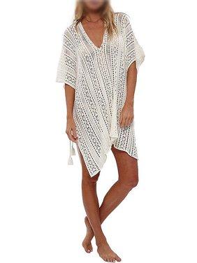 Womens Swimwear Clothing Beach Cover-ups Knit Hollow Out Swimwear Crochet Dress Tops Tassel Loose V Neck Bathing Suit