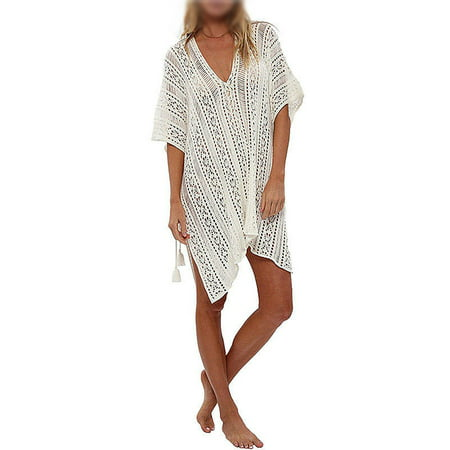 903ecfdbeb991 Sexy Dance - Womens Swimwear Clothing Beach Cover-ups Knit Hollow Out Swimwear  Crochet Dress Tops Tassel Loose V Neck Bathing Suit - Walmart.com