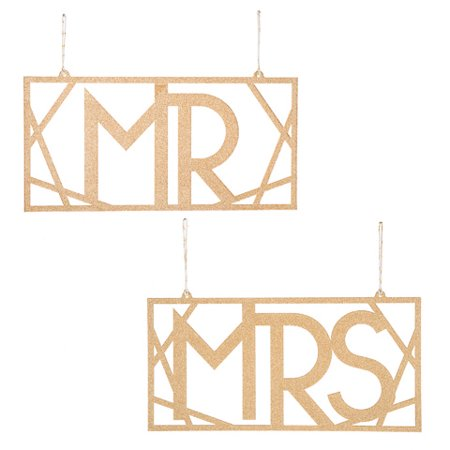 David Tutera Mr and Mrs Chair Signs: Gold, 5.75 x 11.63in (Mr And Mrs Sign)