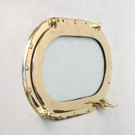 India Overseas Trading MR48600 - Brass Porthole Oblong w/ Glass 14