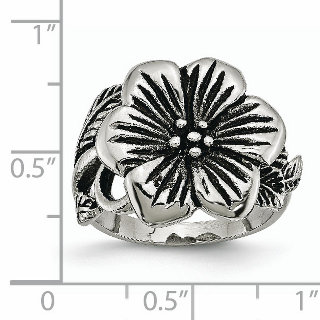 Stainless Steel Antique Finish Flower Band Ring Size 6.00 Flowers/leaf Fashion Jewelry Gifts For Women For Her - image 5 de 6