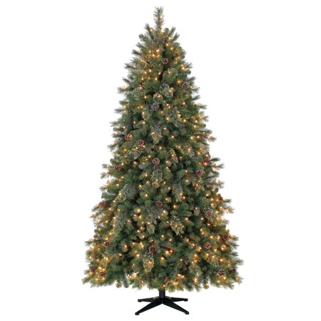 Holiday Time 7.5ft Pre-Lit Carson Pine Artificial Christmas Tree with 400 LED Clear Lights - Green