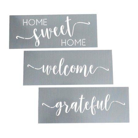 Easy Pumpkin Stencils (Home Sweet Home, Grateful, Welcome Stencil Set - Wording Stencils for Wood + More – Set of 3 Reusable Script Stencils – Easy DIY Wall Décor - Sign)