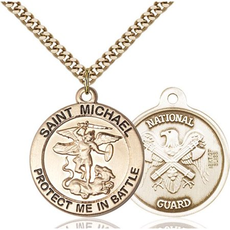 St. Michael the Archangel / National Guard Military Medal in 14 KT Gold - Guard Military Medal