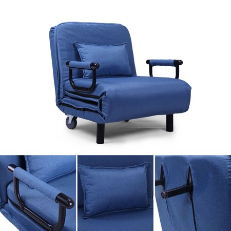 Jaxpety Fabric Folding Chaise Lounge Sofa Chair Couch With