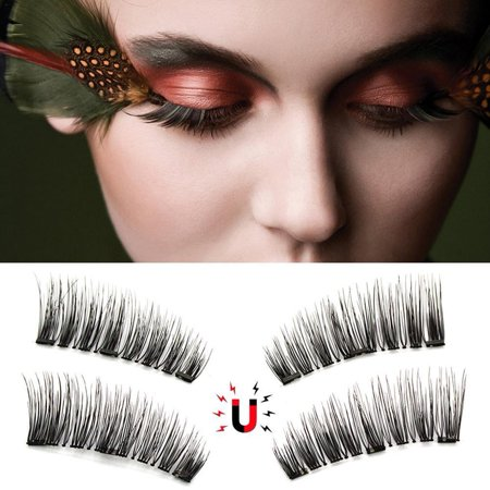 Magnetic Lashes ,4Pcs 3D Magnetic False Eyelashes No Glue Handmade Natural Extension Eye