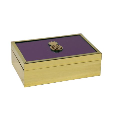 Benzara BM190385 Rectangle Wooden Decorative Storage Box with Pineapple Accent & Glass Inlaid Top - Gold & Purple - 7.5 x 5.25 x 2.25 - Glass Inlaid Top
