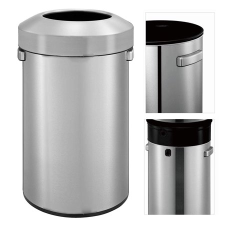 Texas Ragtime Stainless Steel Trash Can With Open Lid 16 Gallon For