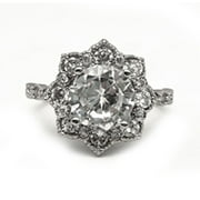 Fine Silver Plate Floral Halo Engagement Ring with Cubic Zirconia Stones