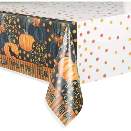 Plastic Painted Pumpkin Halloween Table Cover, 84