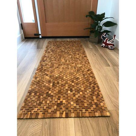 Hip-o Modern Living Teak Handmade Bathroom Floor Mat