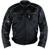 Xelement XS6557 'Troubled' Men's Black All Weather Mesh Level 3 CE Armored Motorcycle Jacket Black