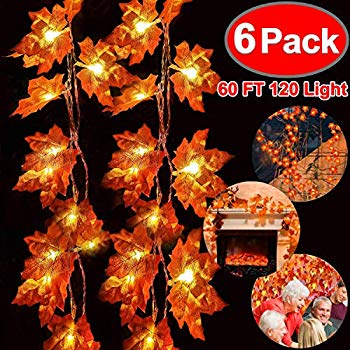 Image of 6 Pack Fall Garland with Lights Thanksgiving Decor Total 60FT & 120 Lights Maple Leaves String Lights Thanksgiving Halloween Garland Waterproof 3AA Battery Powered for Thanksgiving Fireplace Outdoor D