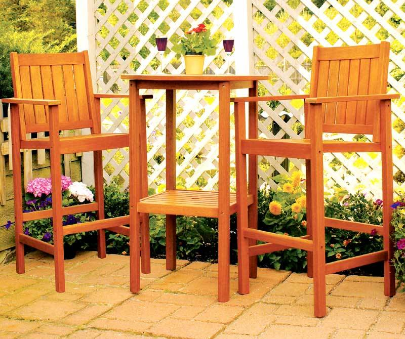 3 Pc All Wood Patio Pub Table Set in Eucalyptus by Minuteman International