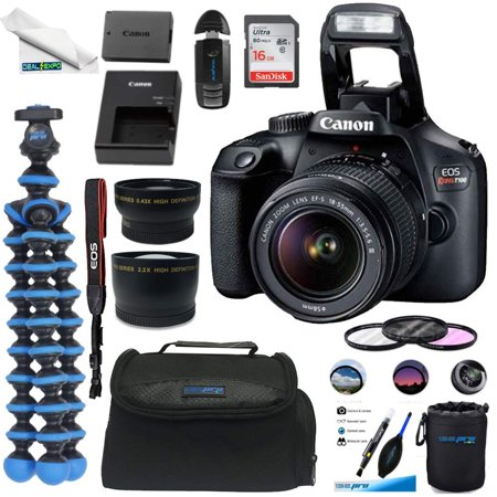 Canon EOS Rebel T100 Digital SLR Camera with 18-55mm Lens Kit + 16GB Card +Deal-expo Essential Bundle