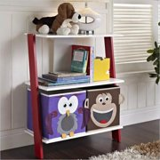 Altra Furniture Luci Ladder Bookcase with 2 Bins in White and Red