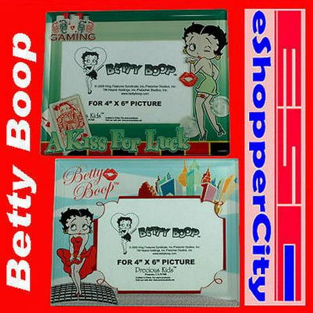 Betty Boop Glass Picture Frame Set of 2 , 4x6 Photo Monroe New York, Las vegas good luck