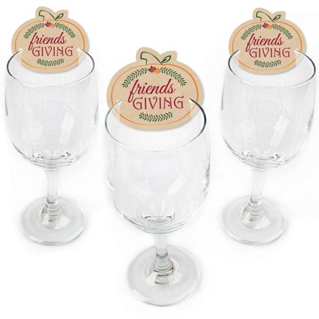 Friends Thanksgiving Feast - Shaped Friendsgiving Wine Glass Markers - Set of (Thanksgiving Glasses)