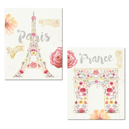 Paris France Tower - Gorgeous Watercolor-Style Paris France Eiffel Tower and Arc de Triomphe by Jess Aiken; Two 11x14in Posters. Pink/Cream/Gold