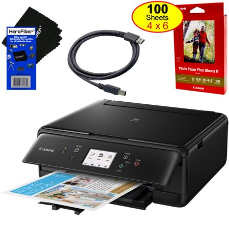 Canon Pixma TS6120 WIFI Black Inkjet All-in one Printer, Printers Scanner Copier  Wireless For Home Or Office Use, Includes Set of Ink, Photo Paper, USB Printer Plug, And Gentle (Best Printer Scanner Combo For Home Use)