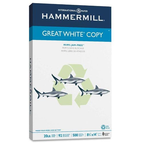 "Hammermill Copy Paper - For Laser, Inkjet Print - Legal - 8.50"" X 14"" - 20 Lb - Recycled - 92 Brightness - 500 / Ream - White (HAM86704)"