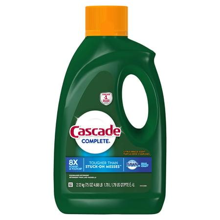 Cascade Complete Dishwasher Detergent Gel  Citrus Breeze Scent  75 Fl Oz