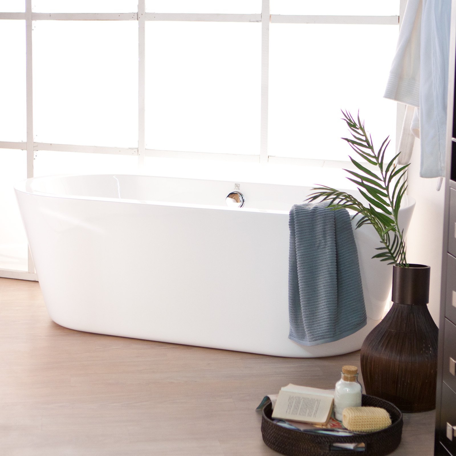 Wyndham Collection Mermaid 67 inch Freestanding Bathtub in White with Polished Chrome Drain and Overflow Trim