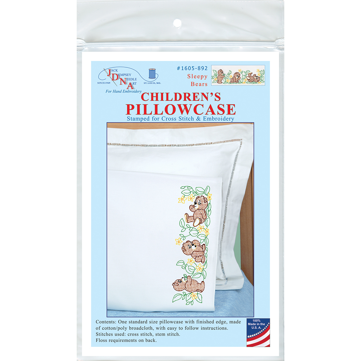 Children's Stamped Pillowcase with White Perle Edge, 1pk, Sleepy Bears