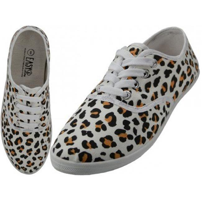Easyusa 1934316 Womens Leopard Printed Canvas Shoes, Ivory - Case of 24