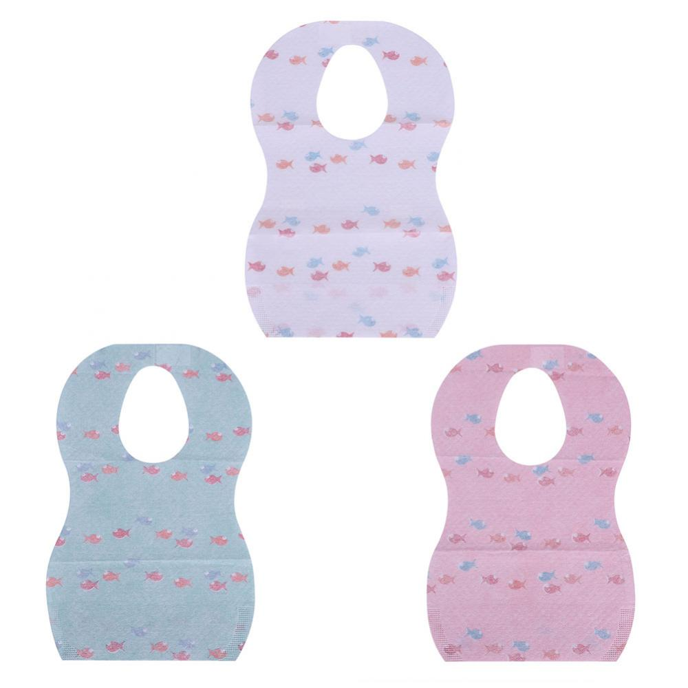 Ashata 10Pcs Waterproof Disposable Baby Bibs with Large Pocket for Easy Feeding Eating, Waterproof Baby Bib, Baby Feeding Bib