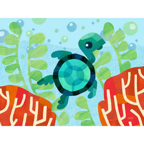 Oopsy Daisy - Marine Munchkins - Coral Turtle Canvas Wall Art 24x18, Sorry You're Happy