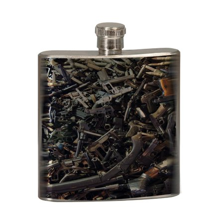 KuzmarK 6 oz. Stainless Steel Pocket Hip Liquor Flask - Rifle Shotgun Pistol Semi Automatic