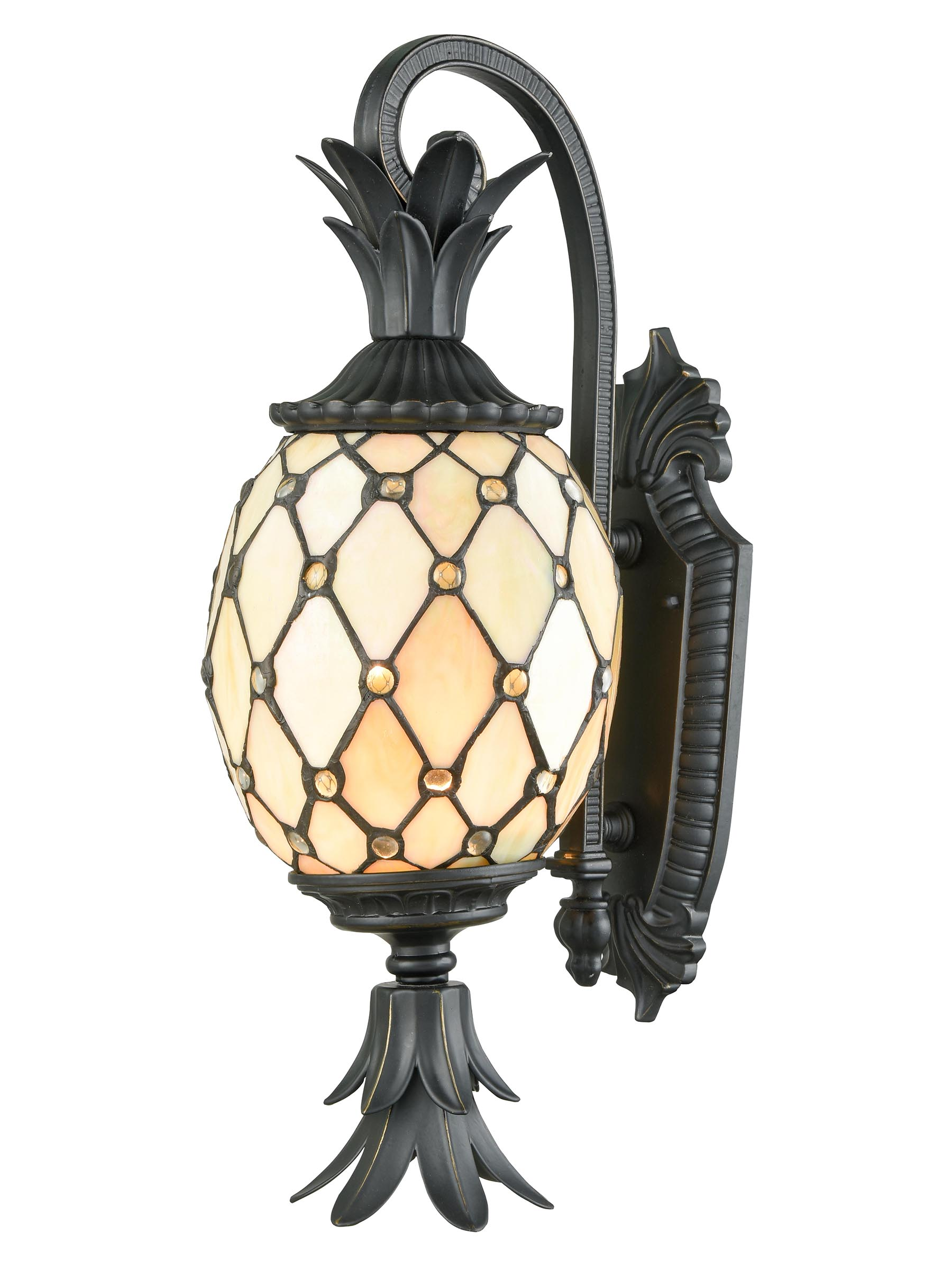 "22"" Black and Orange Pineapple Shape Outdoor Tiffany Wall Sconce by Diva At Home"