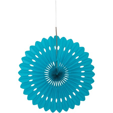 Tissue Paper Fan Decoration, 16 in, Teal, - Paper Decorations