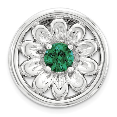 Sterling Silver Stack Exp Small Created Emerald Flower Chain Slide QSK1712 (mm x mm) - image 1 of 1