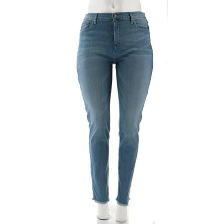 Isaac Mizrahi Tall TRUE DENIM Frayed Ankle Jeans A302218 (True Angle)