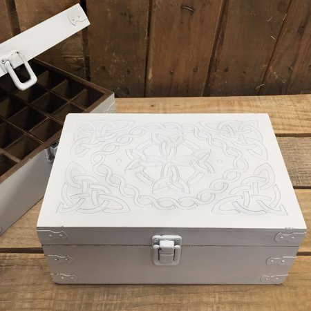 Rustic White Celtic Design Wooden Storage Box for 15ml Aromatherapy Essential Oil Bottles by Rivertree Life - Hinged Wooden Box