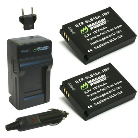 Wasabi Power Battery (2-Pack) and Charger for Samsung SLB-10A The Wasabi Power SLB10A battery and charger kit includes 2 batteries and one charger with a European plug and car adapter. All items meet or exceed OEM standards and come with a 3-year manufacturer warranty. Compatible with the following models: Samsung ES50, ES55 Samsung ES60 Samsung EX2F Samsung HMX-U10 Samsung HMX-U20 Samsung HZ10W Samsung HZ15W Samsung IT100 Samsung L100, L110 Samsung L200, L210 Samsung L310W Samsung M100, M110 Samsung M310W Samsung NV9 Samsung P800 Samsung P1000 Samsung PL50, PL51, PL55 Samsung PL60, PL65 Samsung PL70 Samsung SL102 Samsung SL202 Samsung SL310 Samsung SL420 Samsung SL502 Samsung SL620 Samsung SL720 Samsung SL820 Samsung TL9 Samsung WB150F Samsung WB250F Samsung WB350F Samsung WB500 Samsung WB550 Samsung WB750 Samsung WB800F Samsung WB850F Samsung WB1100F Samsung WB2100