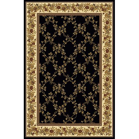Vitaly Wharton Area Rugs - 1427 Traditional Oriental Black Floral Country Bordered Lattice Rug
