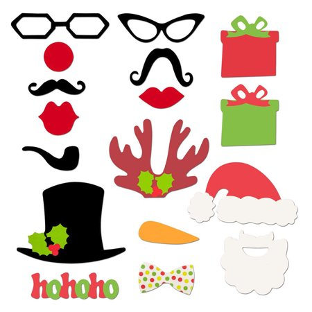 Xit Photo Booth Props 17 In 1 Holiday Package - Funny Decorations On A Stick - Props On Sticks