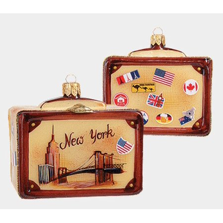 New York Vintage Style Travel Suitcase Glass Christmas Ornament ONE (O And X New York Glasses)