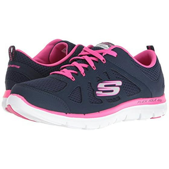 03056d300042 Skechers - 12761 Navy Hot Pink Skechers Shoe Women Memory Foam Sport Train  Comfort Flex New 12761NVHP - Walmart.com