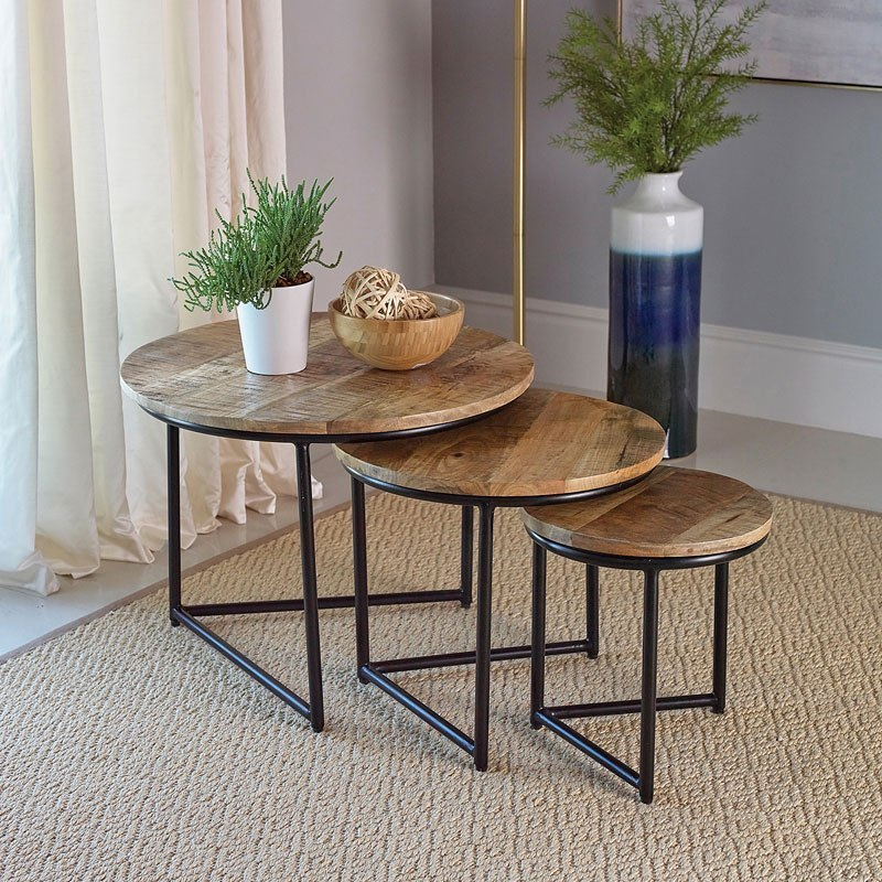 magshion 3 piece nesting table set modern round accent