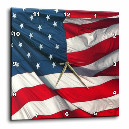 3dRose American Flag, Wall Clock, 15 by 15-inch