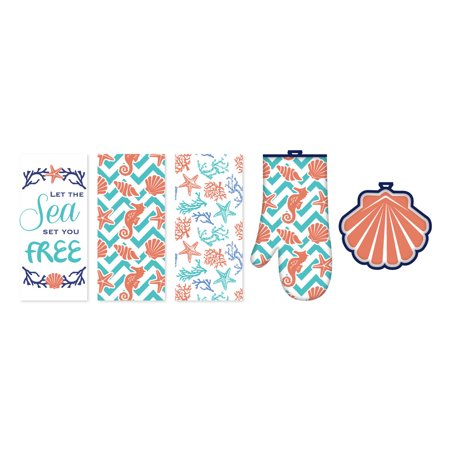 - Homewear Let The Sea Set You Free, 5 Piece Kitchen Set - 3 Kitchen Towels, Oven Mitt, Pot Holder