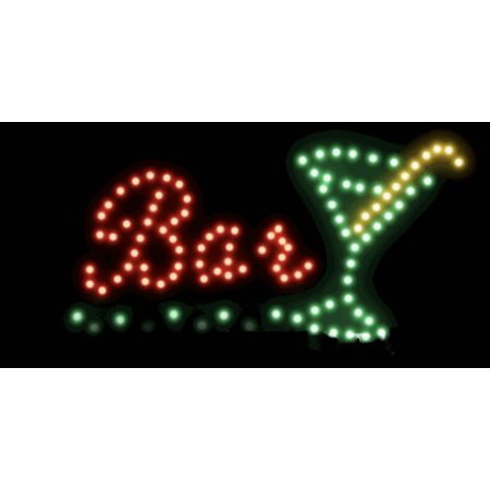 Creative Motion Bar with Martini Glass LED Sign electrical; 13568 (Led Bar Signs)