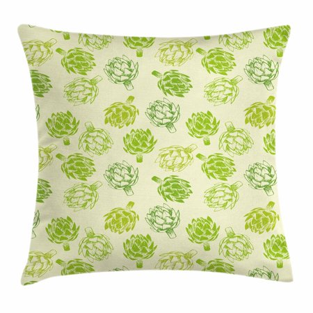 (Artichoke Throw Pillow Cushion Cover, Hand Drawn Fresh Vegetable Sketch Tasty Natural Food Organic Eats Artwork Print, Decorative Square Accent Pillow Case, 18 X 18 Inches, Lime Green, by Ambesonne)