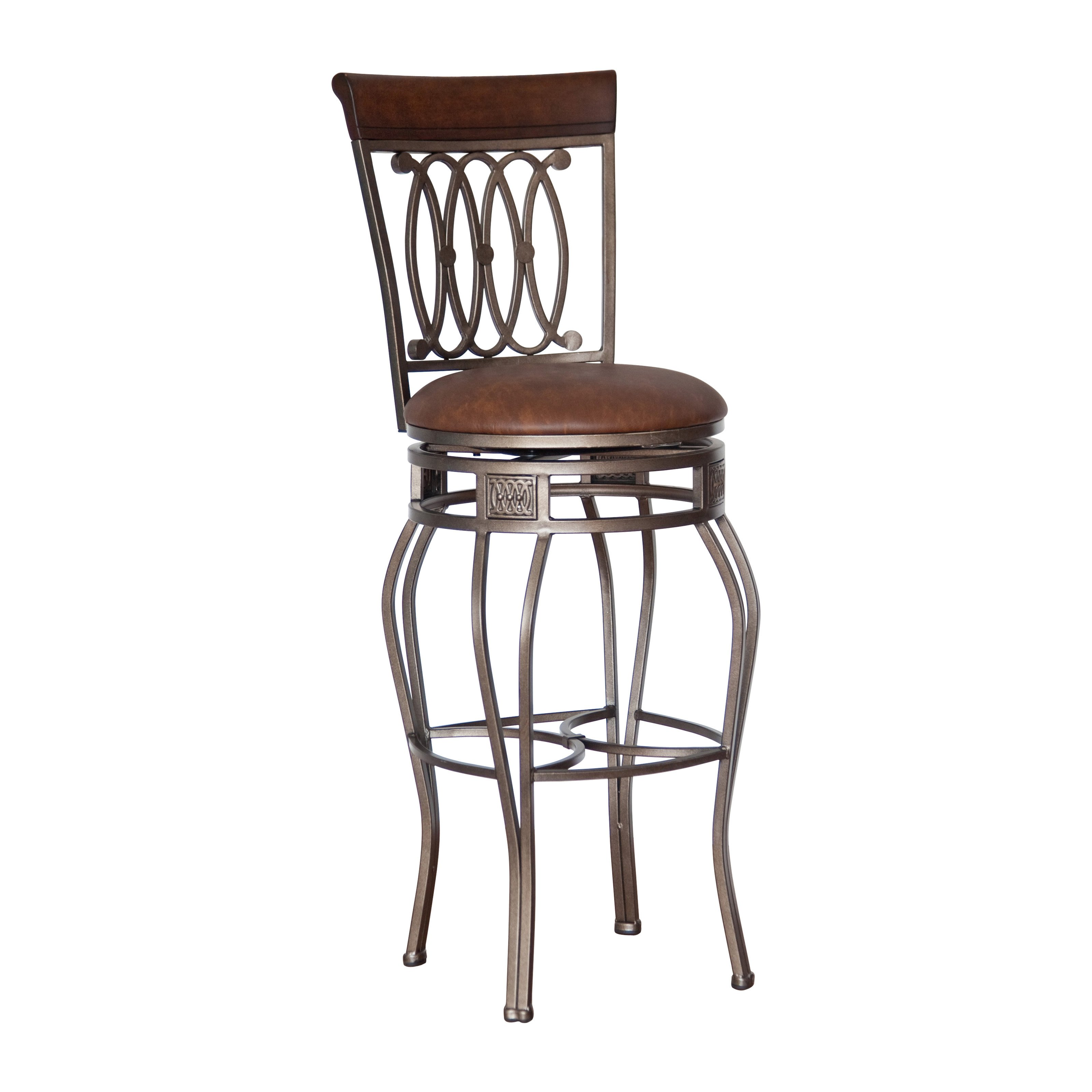 Bar stool chairs with backs - Hillsdale Furniture Montello 48 5 Swivel Bar Stool Old Steel Finish With Brown Faux Leather Walmart Com